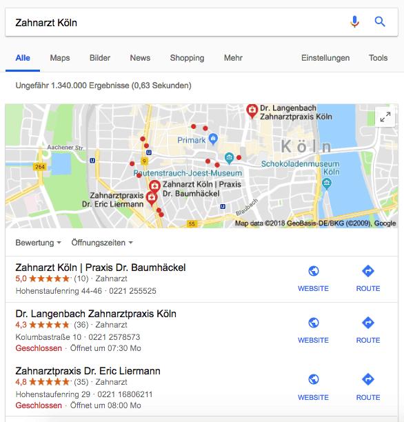 Google MyBusiness Beispiel Ranking