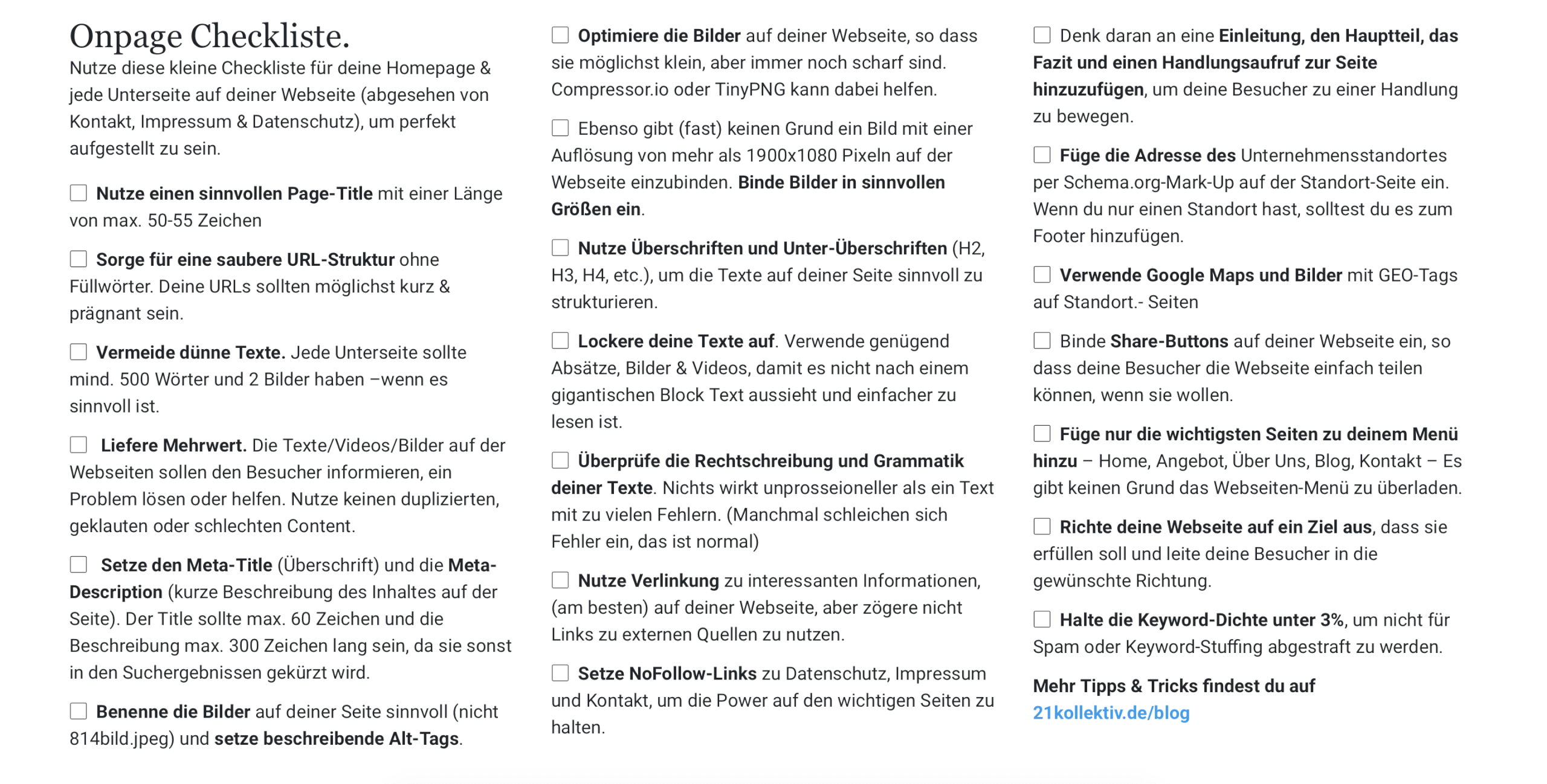 OnPage Checkliste