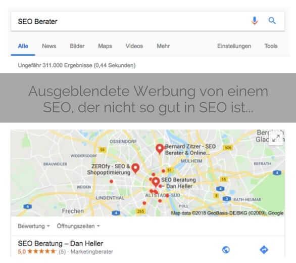Screenshot Suchergebnisse Lokal SEO Berater Koeln