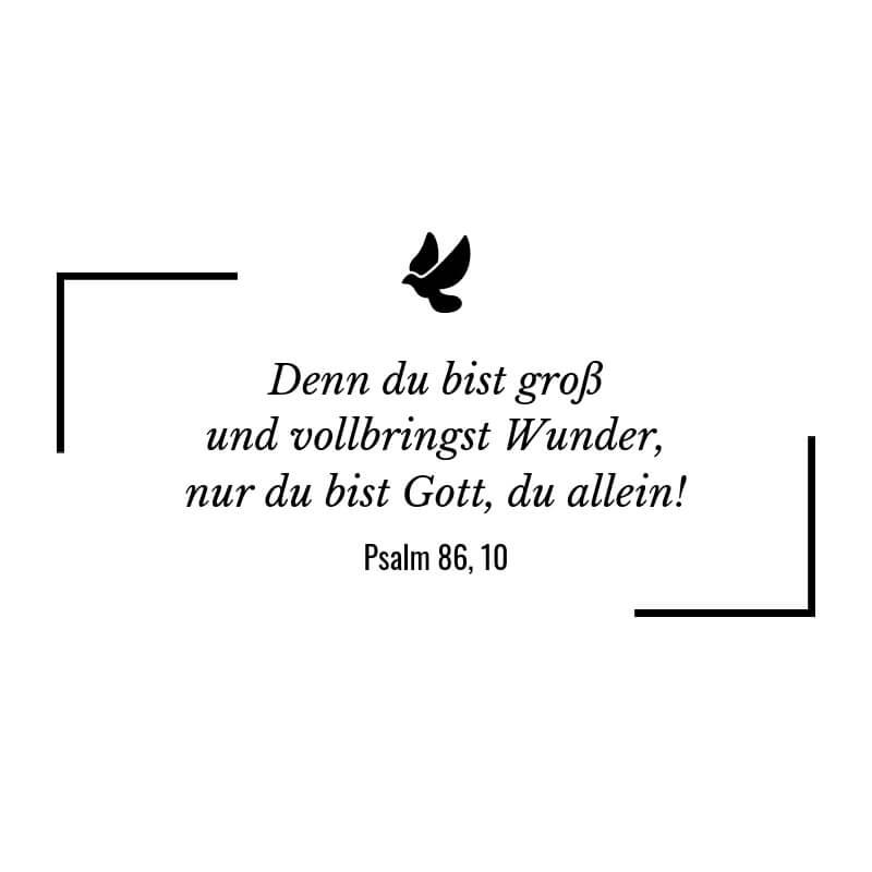 Denn du bist groß und vollbringst Wunder, nur du bist Gott, du allein! – Psalm 86:10 | Die inspirierendsten Bibelsprüche