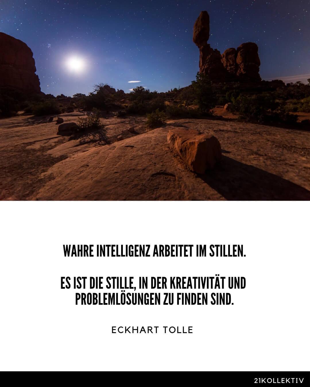 Wahre Intelligenz arbeitet im Stillen. Es ist die Stille, in der Kreativität und Problemlösungen zu finden sind. – Eckhart Tolle