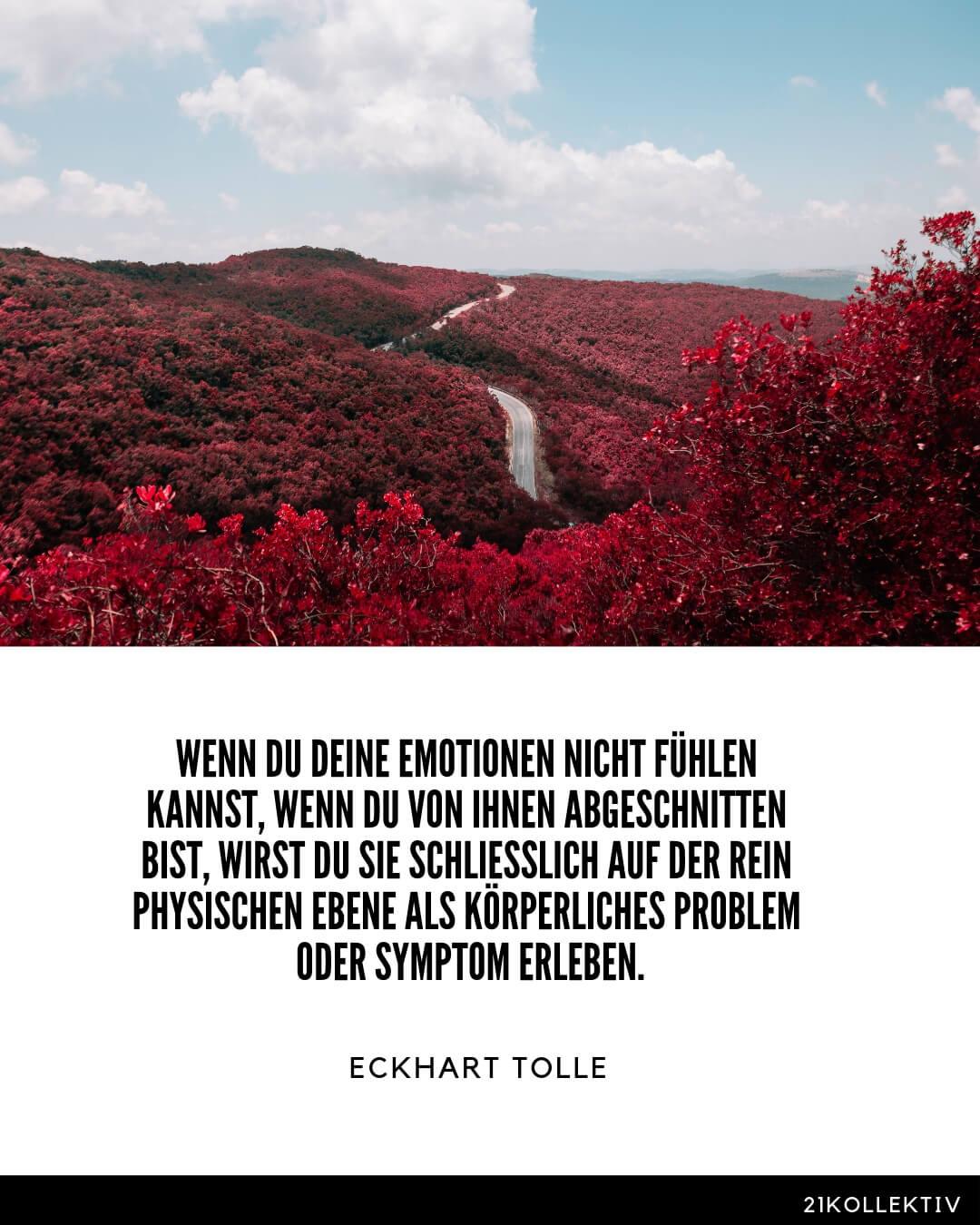 Wenn du deine Emotionen nicht fühlen kannst, wenn du von ihnen abgeschnitten bist, wirst du sie schließlich auf der rein physischen Ebene als körperliches Problem oder Symptom erleben. – Eckhart Tolle