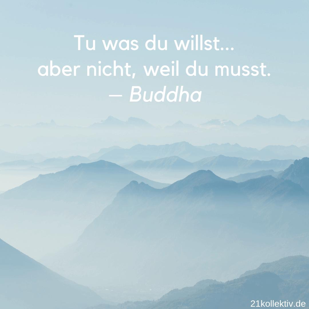 Tu was du willst,... Aber nicht weil du musst. – Buddha | Lebensweisheit zum Nachdenken // 21kollektiv #spruch