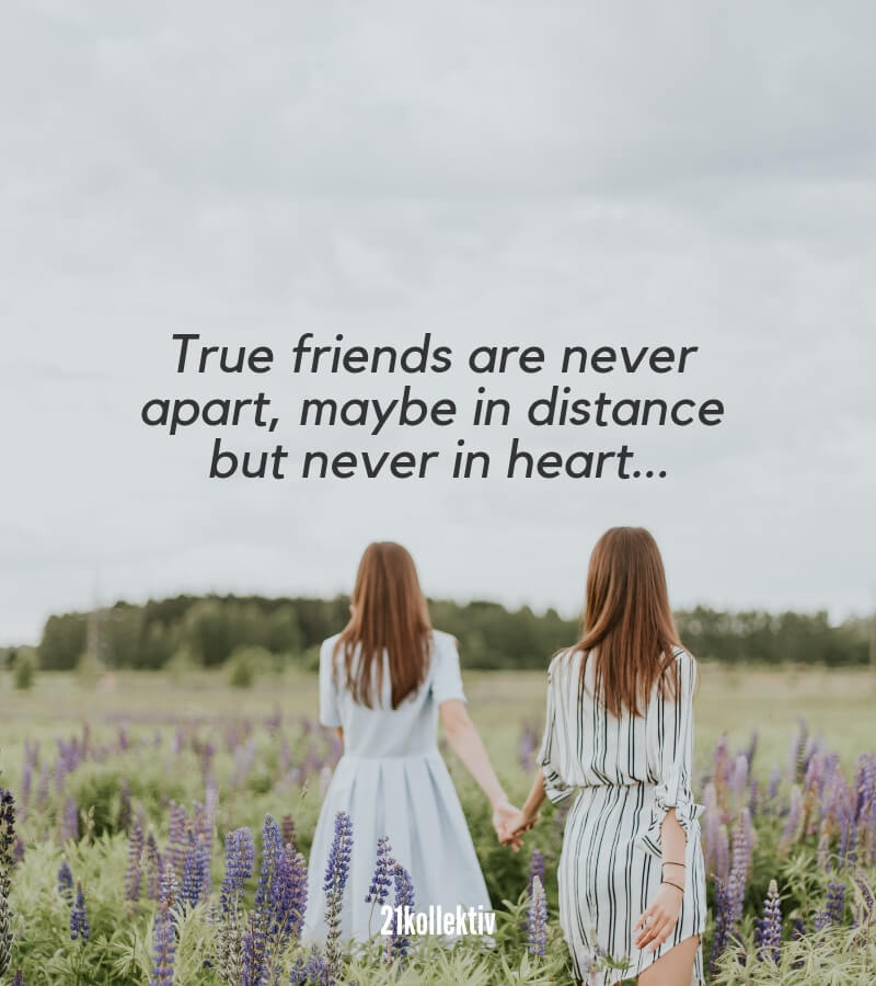 True friends are never apart, maybe in distance but never in heart. | Mehr englische Freundschaftssprüche findest du auf 21kollektiv.de