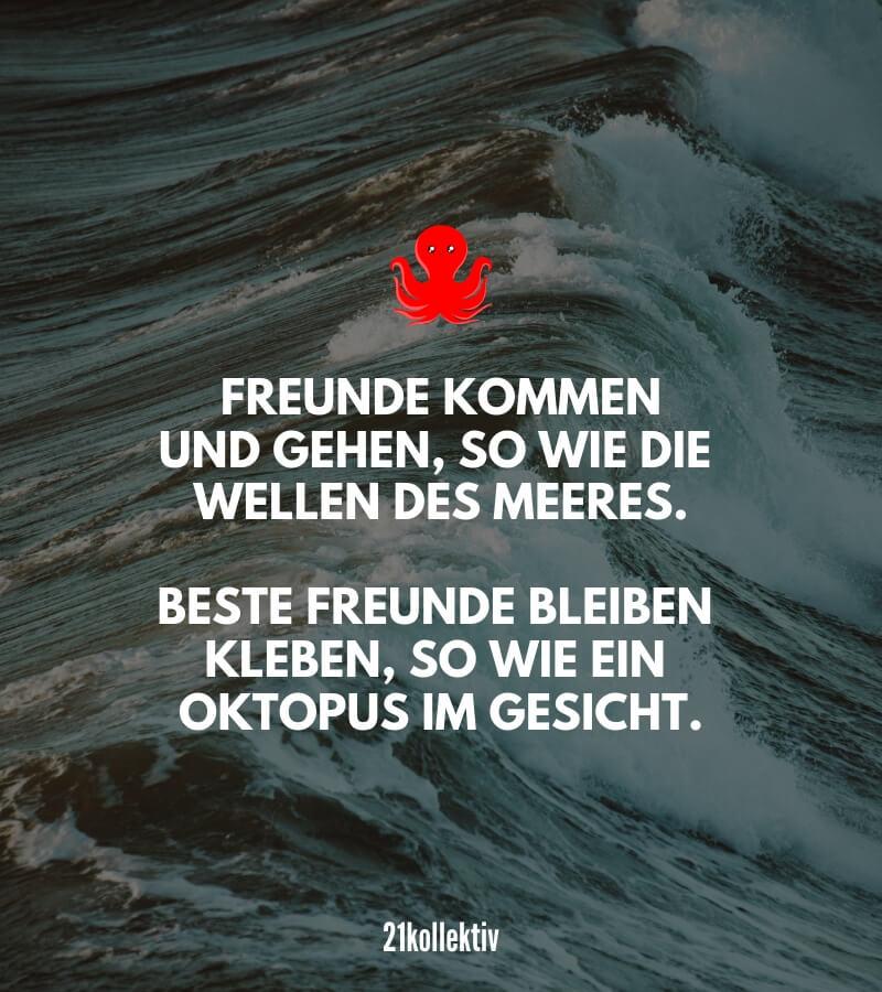 Freunde kommen und gehen, so wie die Wellen des Meeres. Beste Freunde bleiben kleben, so wie ein Oktopus im Gesicht. #lustig #freundschaftsspruch