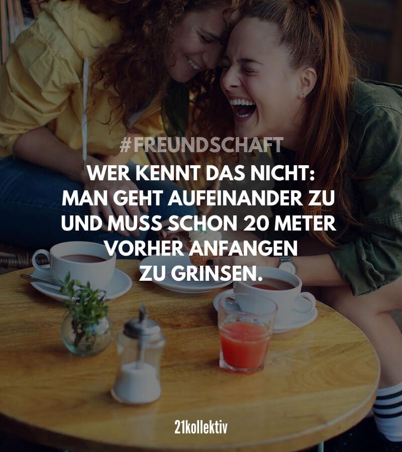 Wer kennt das nicht: Man geht aufeinander zu und muss schon 20 Meter vorher anfangen zu grinsen. // So ist es immer bei besten Freundinnen und Freunden!