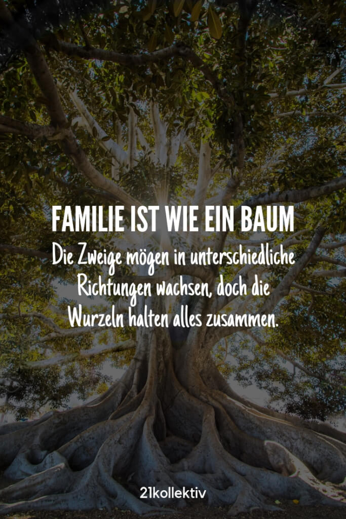Familie ist wie ein Baum. Die Zweige mögen in unterschiedliche Richtungen wachsen, aber die Wurzeln halten alles zusammen. |Besuche unsere Webseite, um noch mehr schöne Sprüche zu entdecken | 21kollektiv