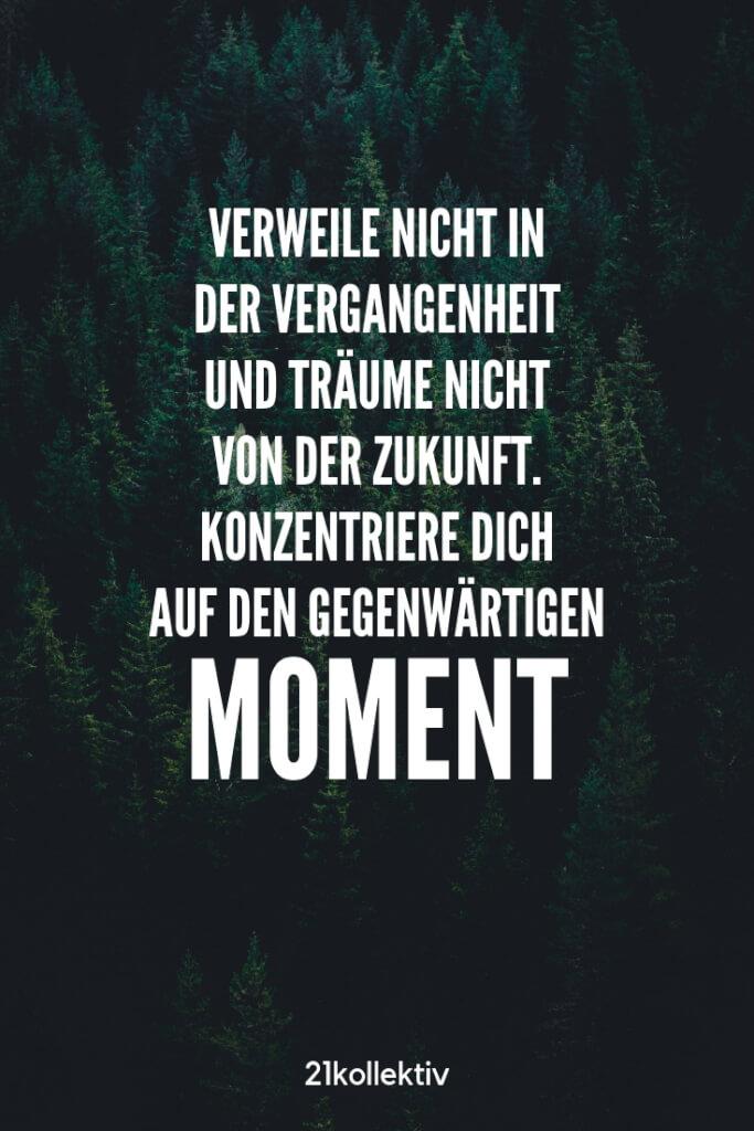 Verweile nicht in der Vergangenheit und träume nicht von der Zukunft. Konzentriere dich auf den gegenwärtigen Moment!