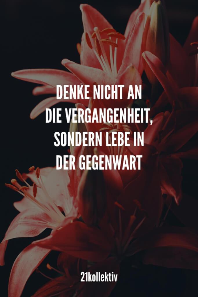 Denke nicht an die Vergangenheit, sondern lebe die Gegenwart. | 21kollektiv | #buddha #liebe