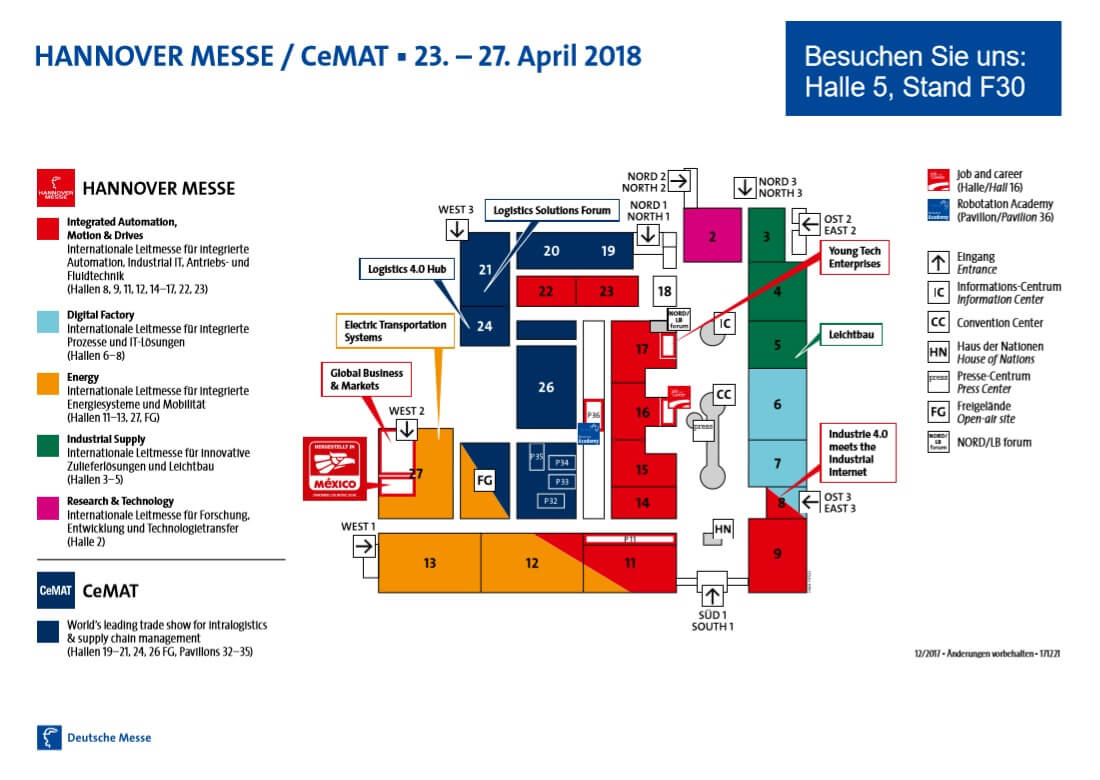Gebäudeplan HMI 18, SWMS in Halle 5, Stand 30