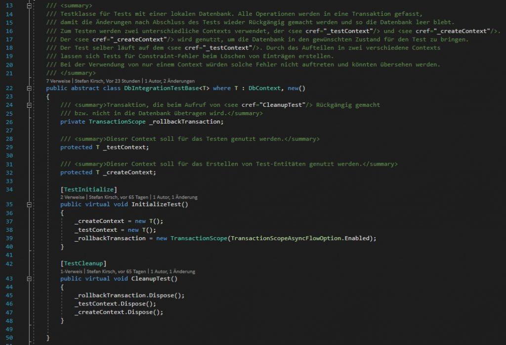 Basisklasse für Tests mit Entity Framework