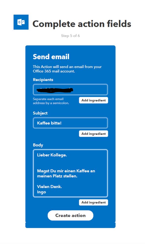 Einstellen der E-Mail-Aktion / Anpassung