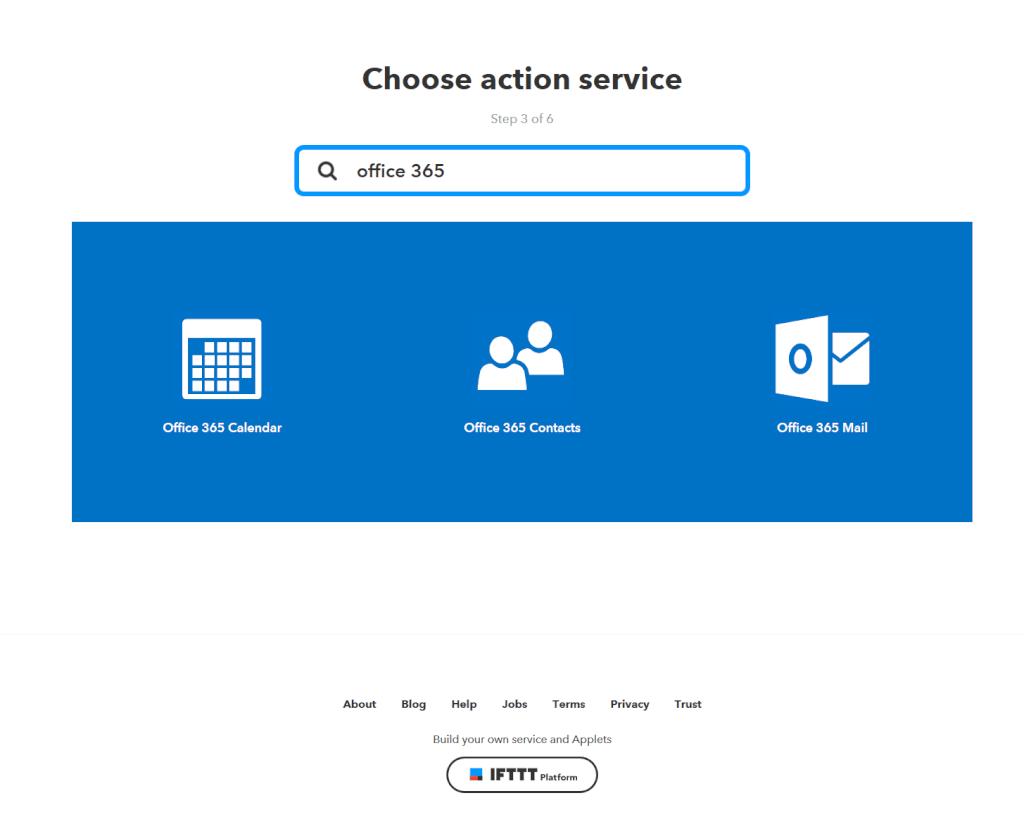 Service für die Aktion auswählen: Office 365 Mail