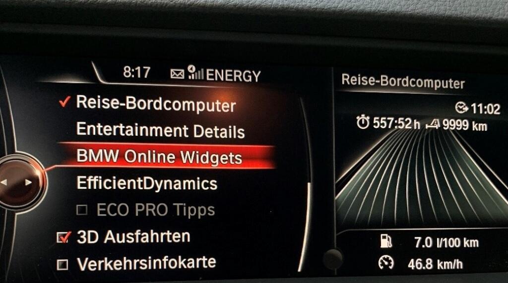 BMW Online Widgets auswählen