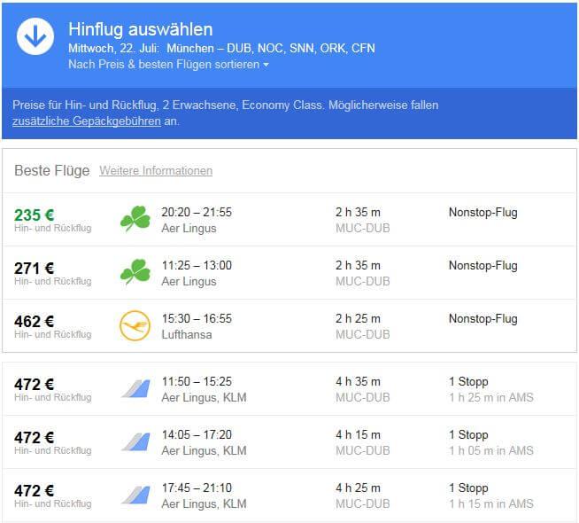 Beste Flüge mit Google Flights