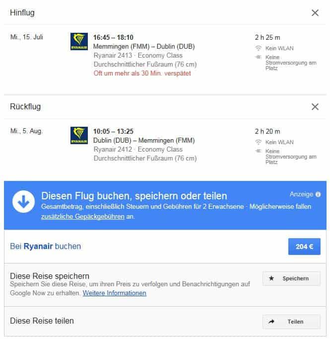 Flugpreise überwachen mit Google Flights