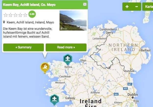 Irland Karte mit Sehenswürdigkeiten