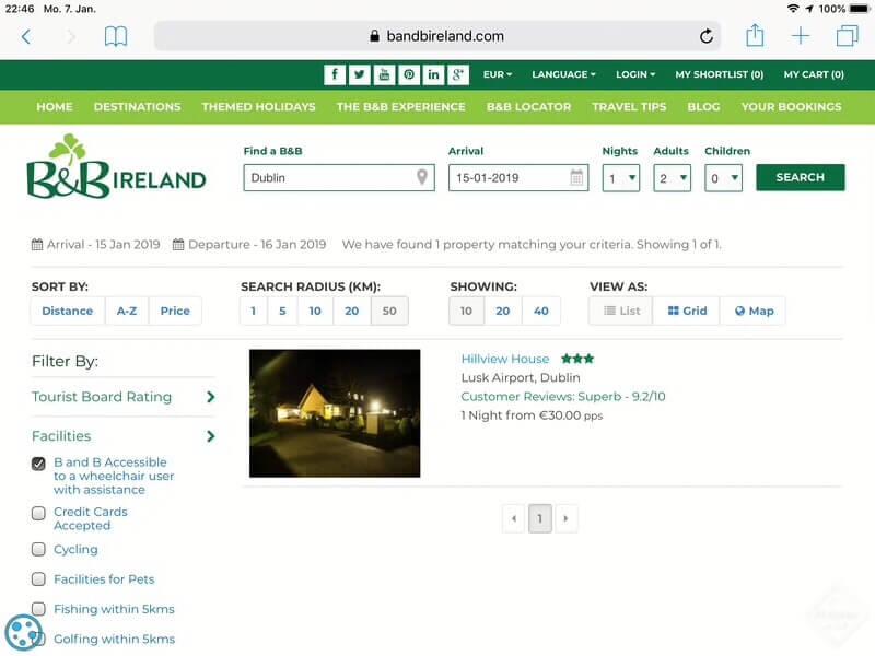 rollstuhl unterkunft bandb irland