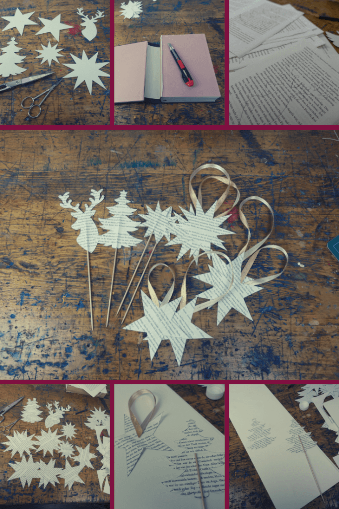 Weihnachtsdeko basteln aus alten Buechern