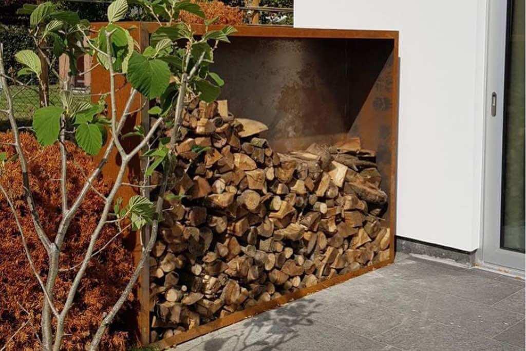 holzlager cortenstahl brennholz lagern