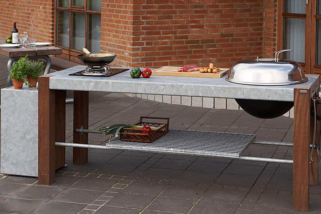 outdoor kueche gasgrill und holzkohlegrill