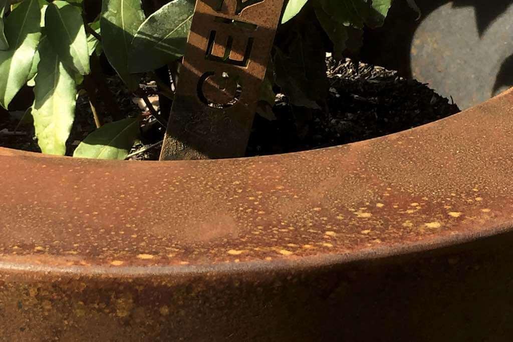 pflanzbehaelter aussen cortenstahl rund nahaufnahme