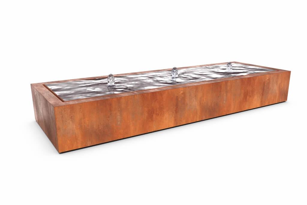 Wassertisch aus Cortenstahl, rechteckig