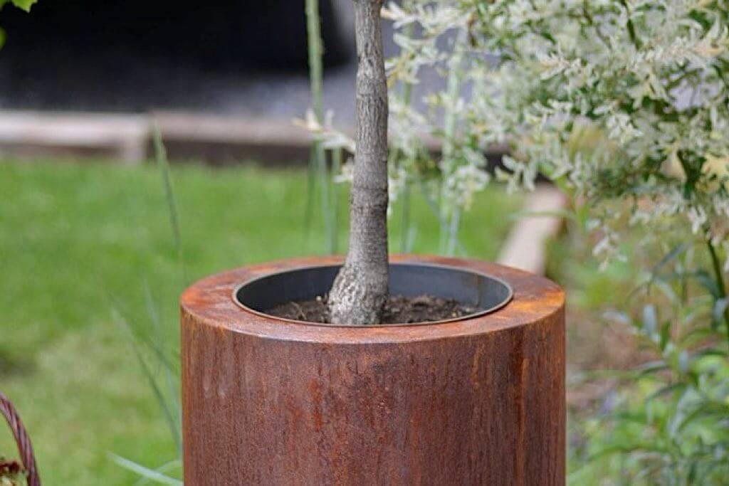 cortensthal pflanzbehaelter rund mit pflanze