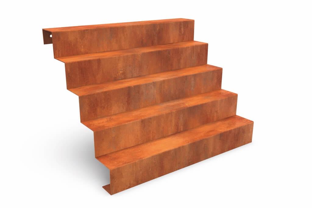 treppe cortenstahl montiert