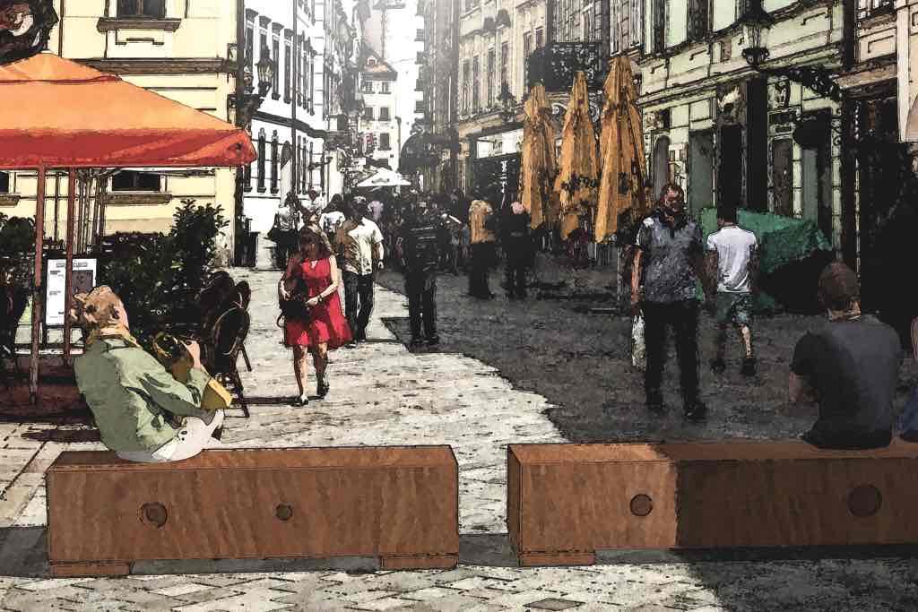 Anti-Terror Sperre, Rammschutz und Sitzbank aus massivem Holz