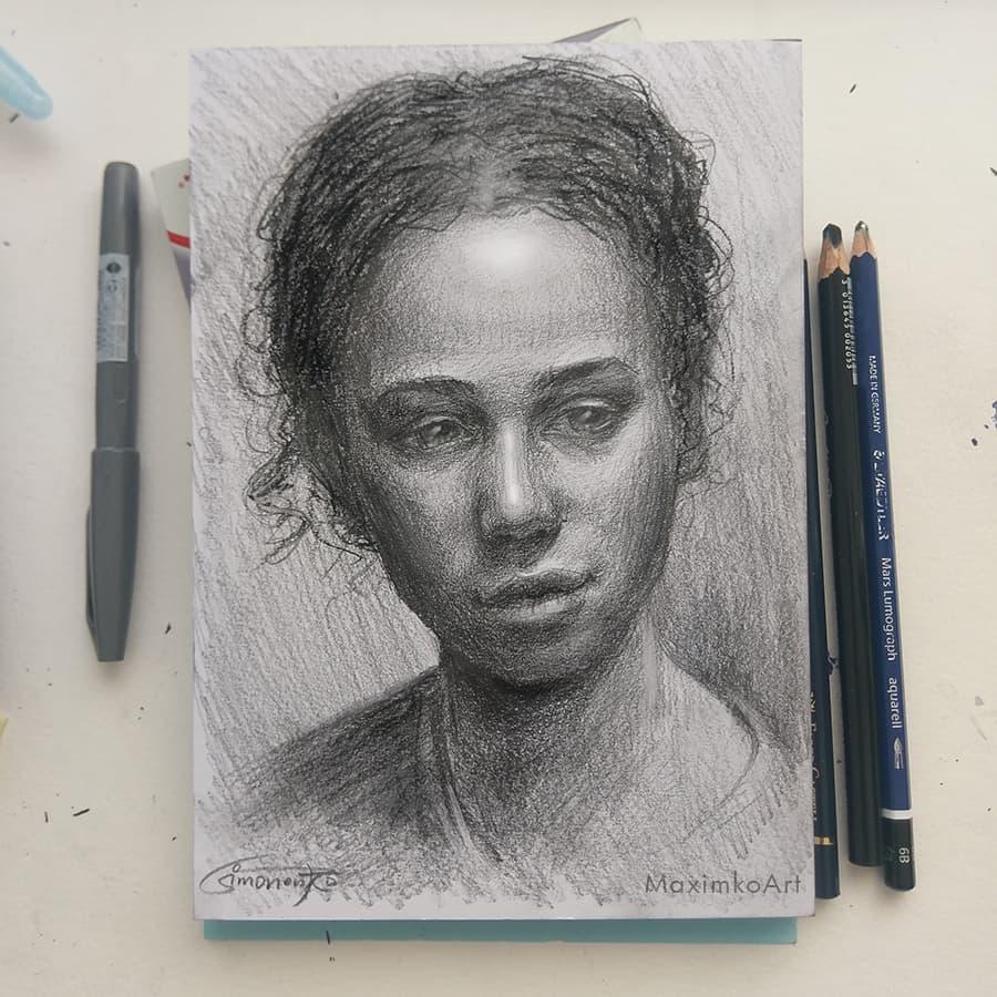 portrait maxim simonenko maximko schnellzeichner portfolio bleistift kohlestift auftrag portrait vom foto