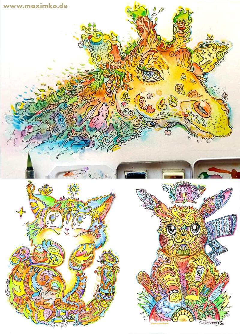 giraffe pikachu ausmalbild maxim simonenko maximko portfolio bunt buntstifte aquarell