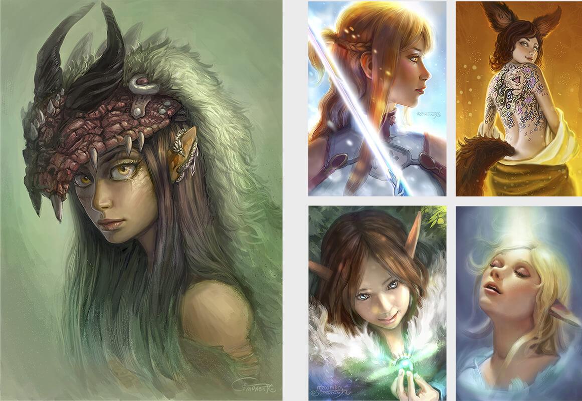 digitale elfen fantasy portraits maxim simonenko maximko