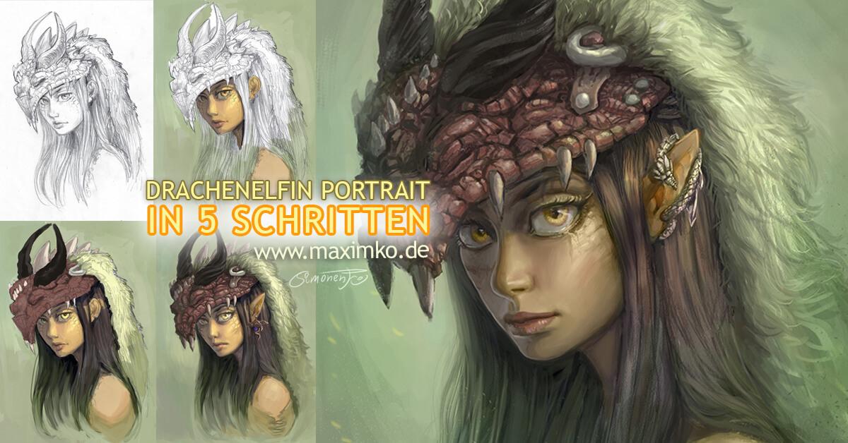 Schritt-für-Schritt: Drachen-Schamanin-Porträt