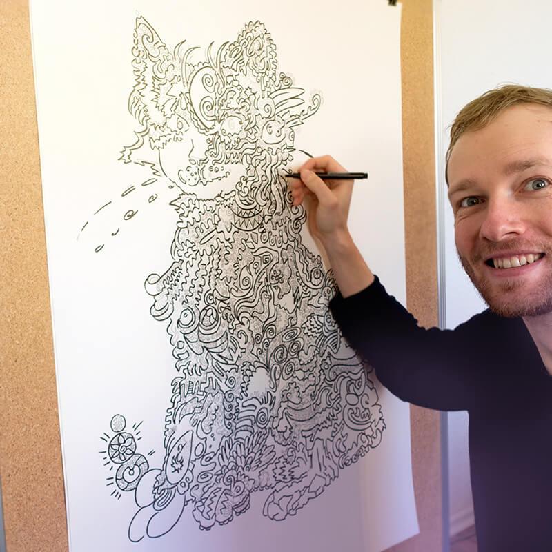 eventzeichnen schnellzeichner auf hochzeit karikatur porträt von maxim simonenko maximko