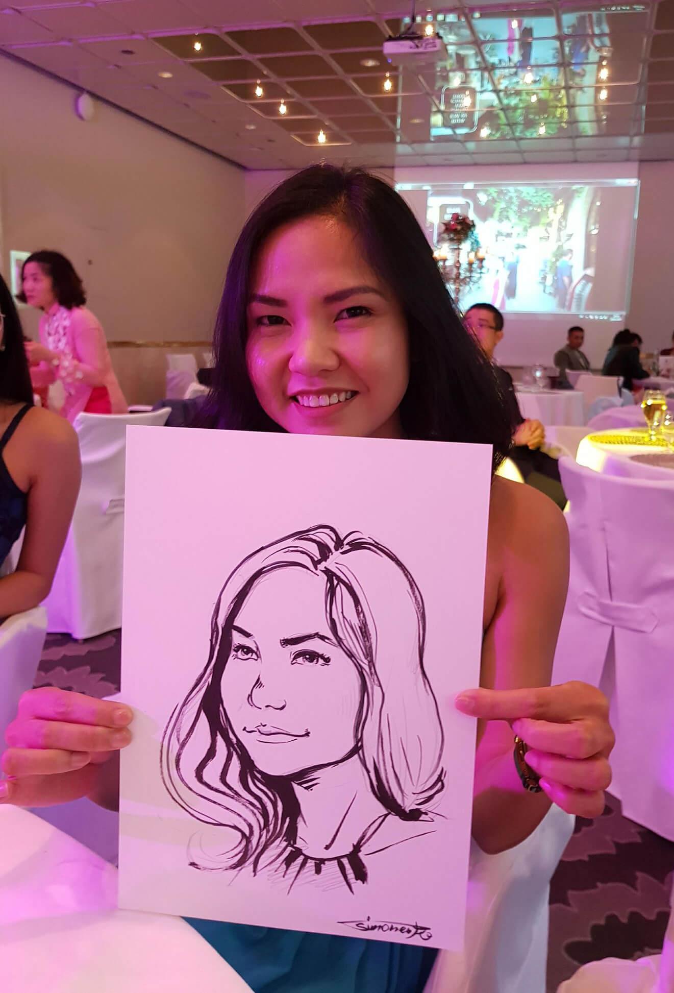 portrait maxim simonenko maximko schnellzeichner portfolio hochzeit event schnellportrait karikatur asiatisches mädchen glücklich