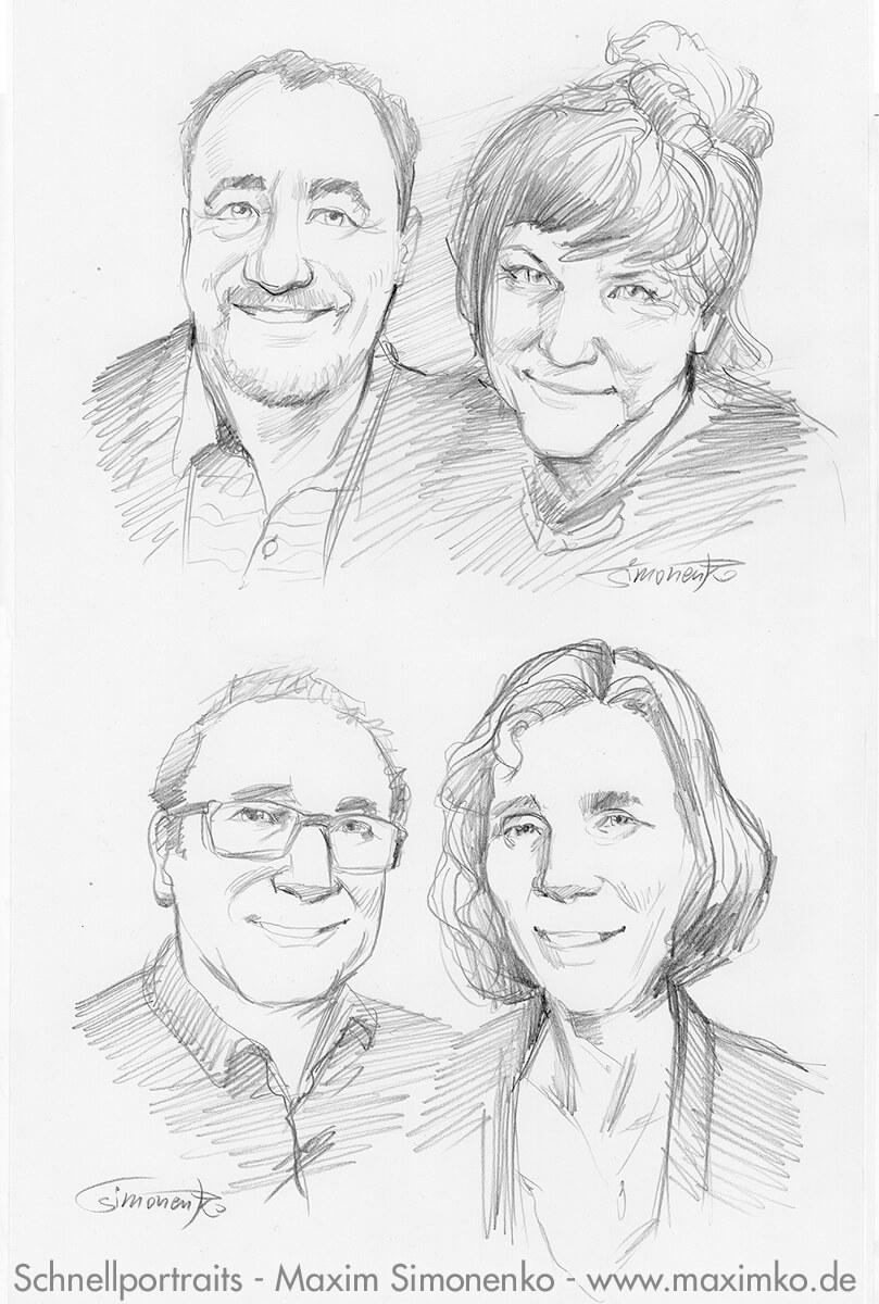 portrait maxim simonenko maximko schnellzeichner portfolio bleistift paare
