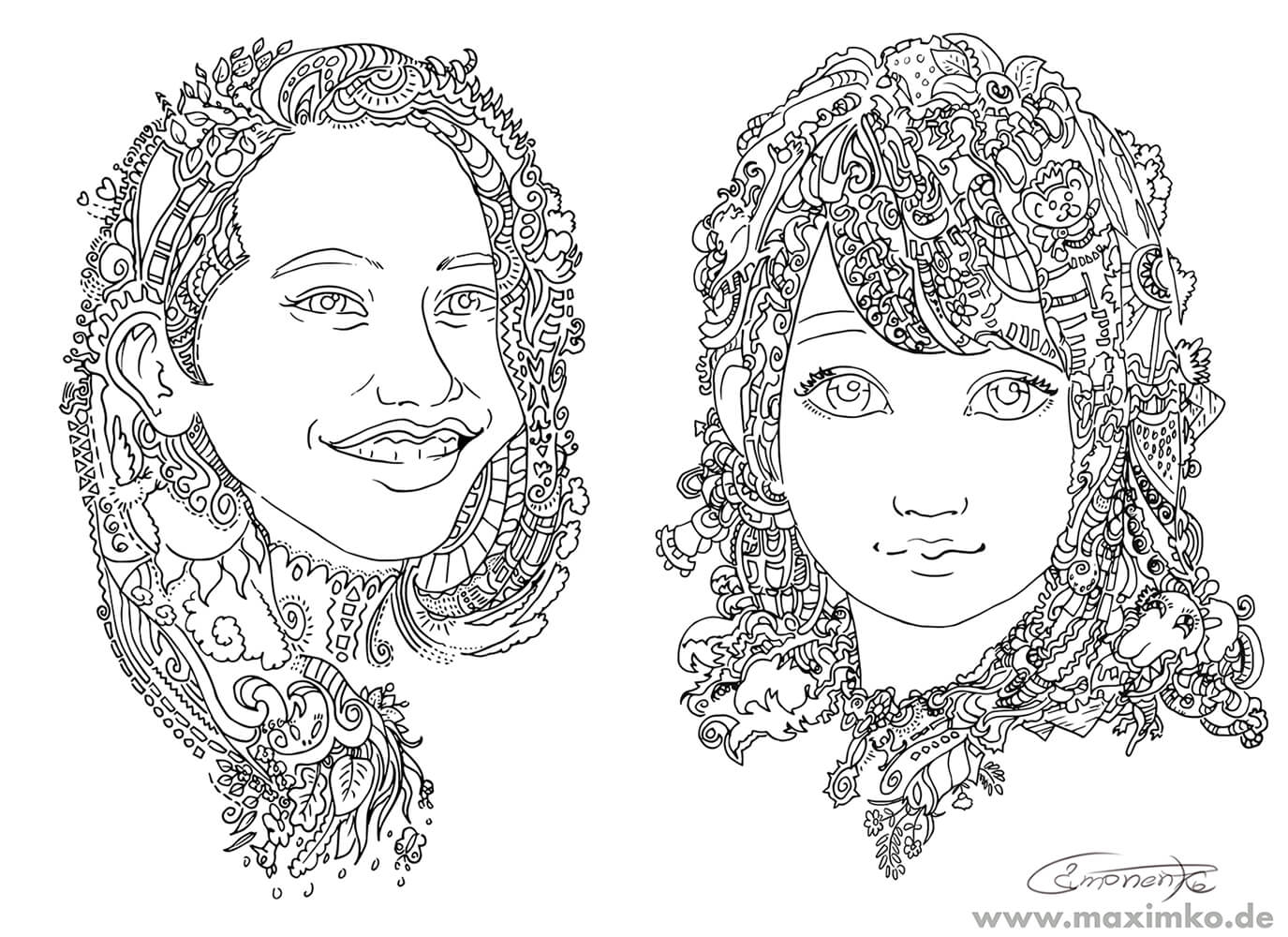 ausmalbild portrait mädchen kreatives geschenk maxim simonenko portfolio maximko