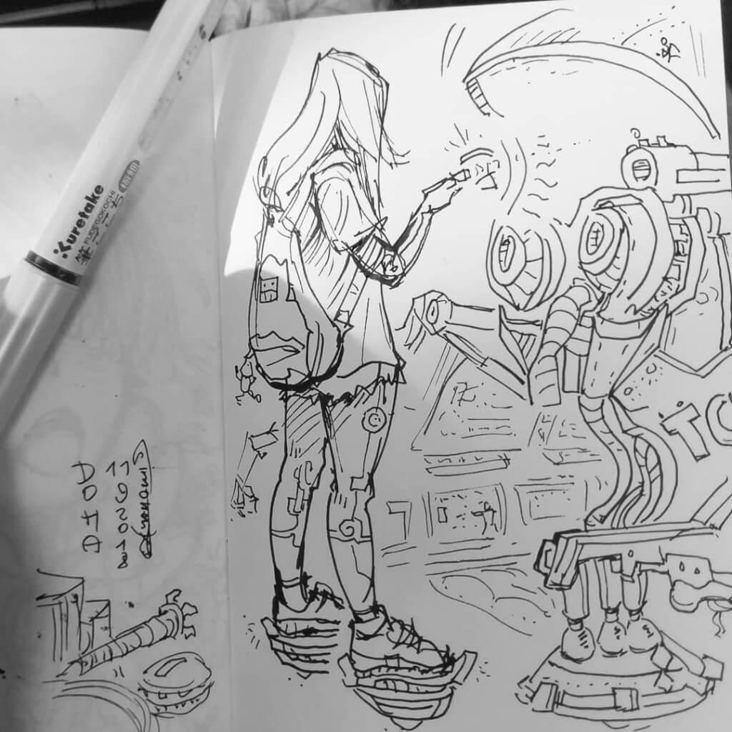 skizzenbuch portfolio maxim simonenko maximko skizze manga roboter mädchen