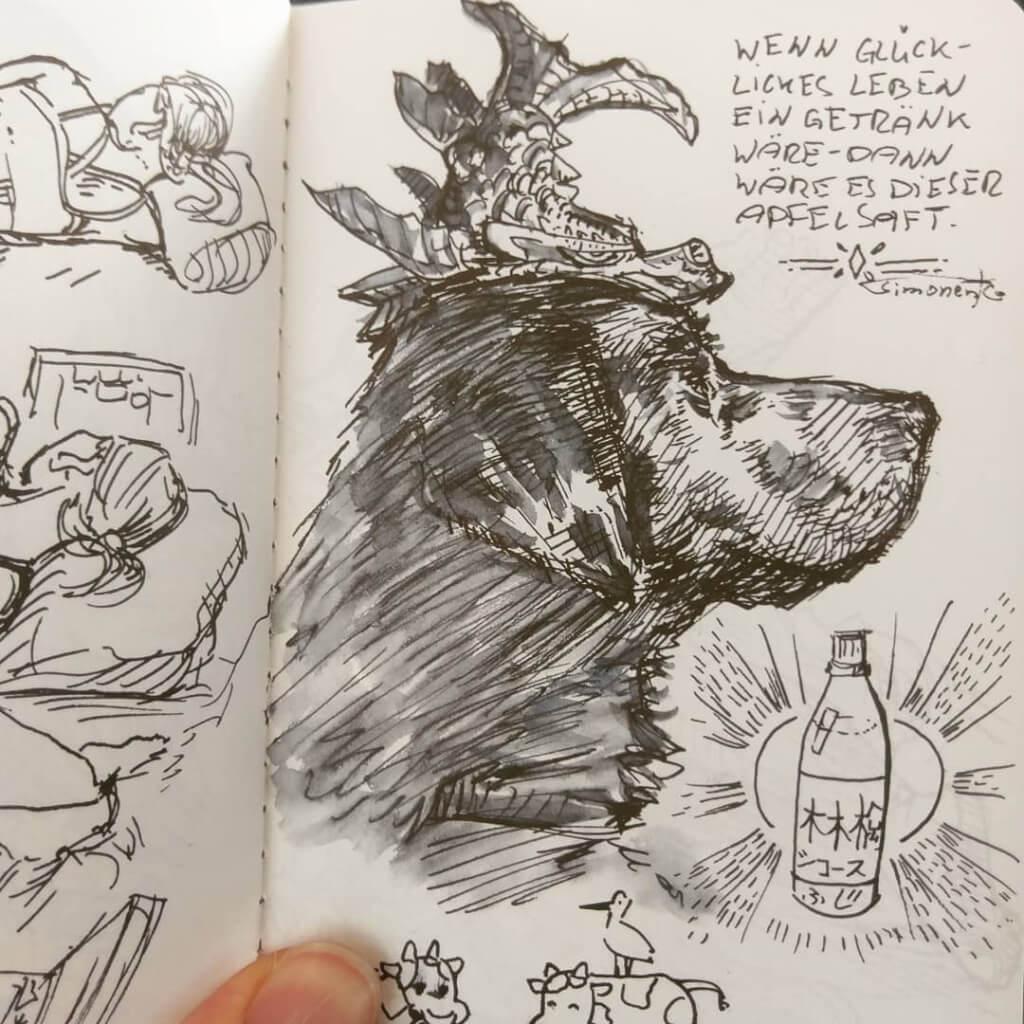 skizzenbuch portfolio maxim simonenko maximko skizze hund fisch