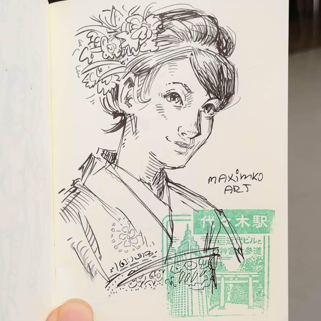 skizzenbuch portfolio maxim simonenko maximko skizze geisha japan japanisches mädchen