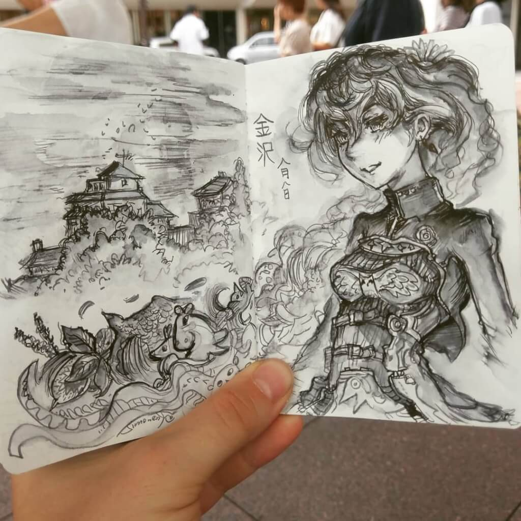 skizzenbuch portfolio maxim simonenko maximko skizze manga mädchen japan