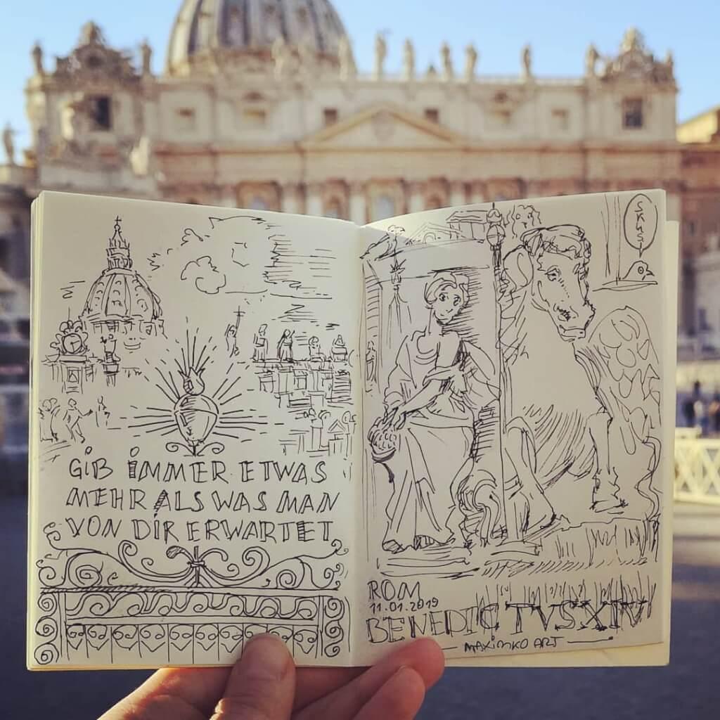 skizzenbuch portfolio maxim simonenko maximko skizze rom vatikan