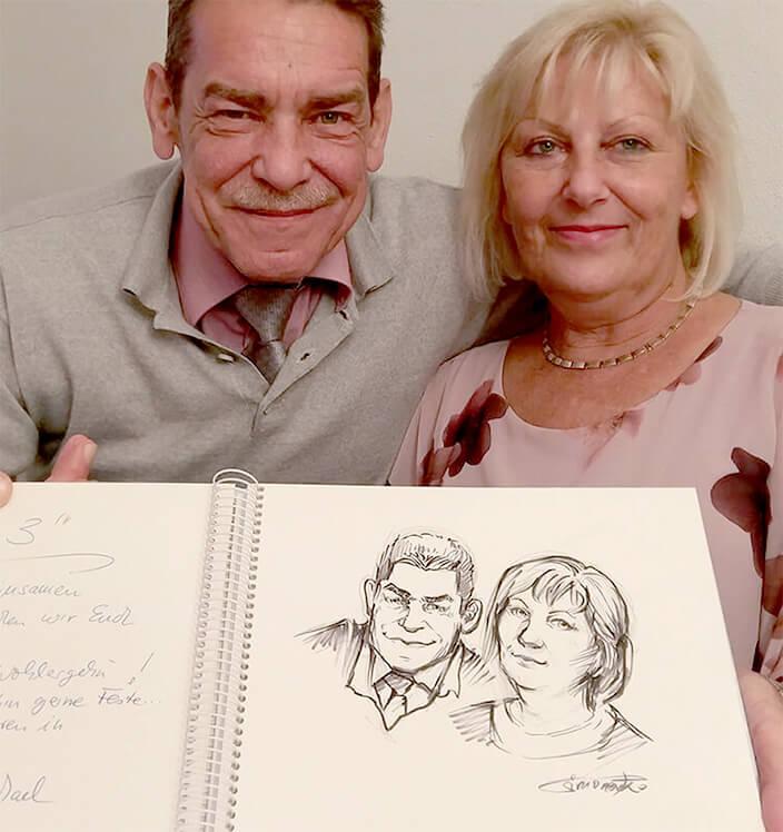 gästebuch zeichnung portrait auf hochzeit schnellzeichner maximko maxim simonenko