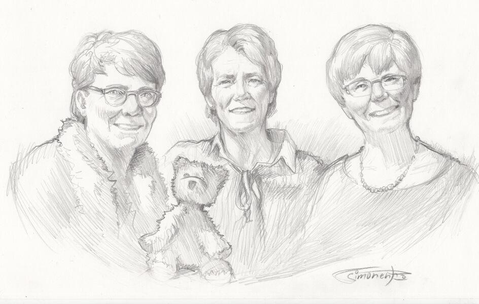 bleistift portrait porträt oma teddy bär gruppenportrait von maxim simonenko