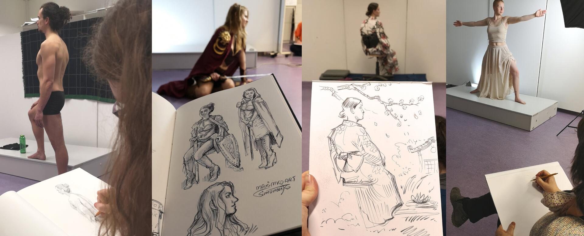 menschen zeichnen aktzeichnen live model modell frau mann anatomie zeichnen lernen volkschochschule rostock maxim simonenko