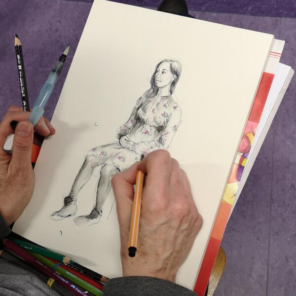menschen zeichnen zeichenkurs live model modell asiatin zeichnung zeichnen lernen rostock volkshochschule maxim simonenko