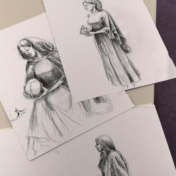 menschen zeichnen zeichenkurs live model modell kostüm hexe zeichnung zeichnen lernen rostock volkshochschule maxim simonenko