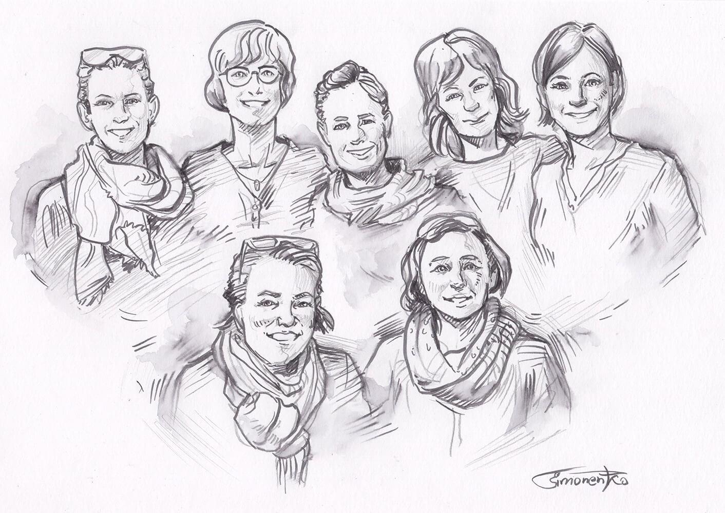 tusche bleistift portrait frau gruppe kreativ von maxim simonenko