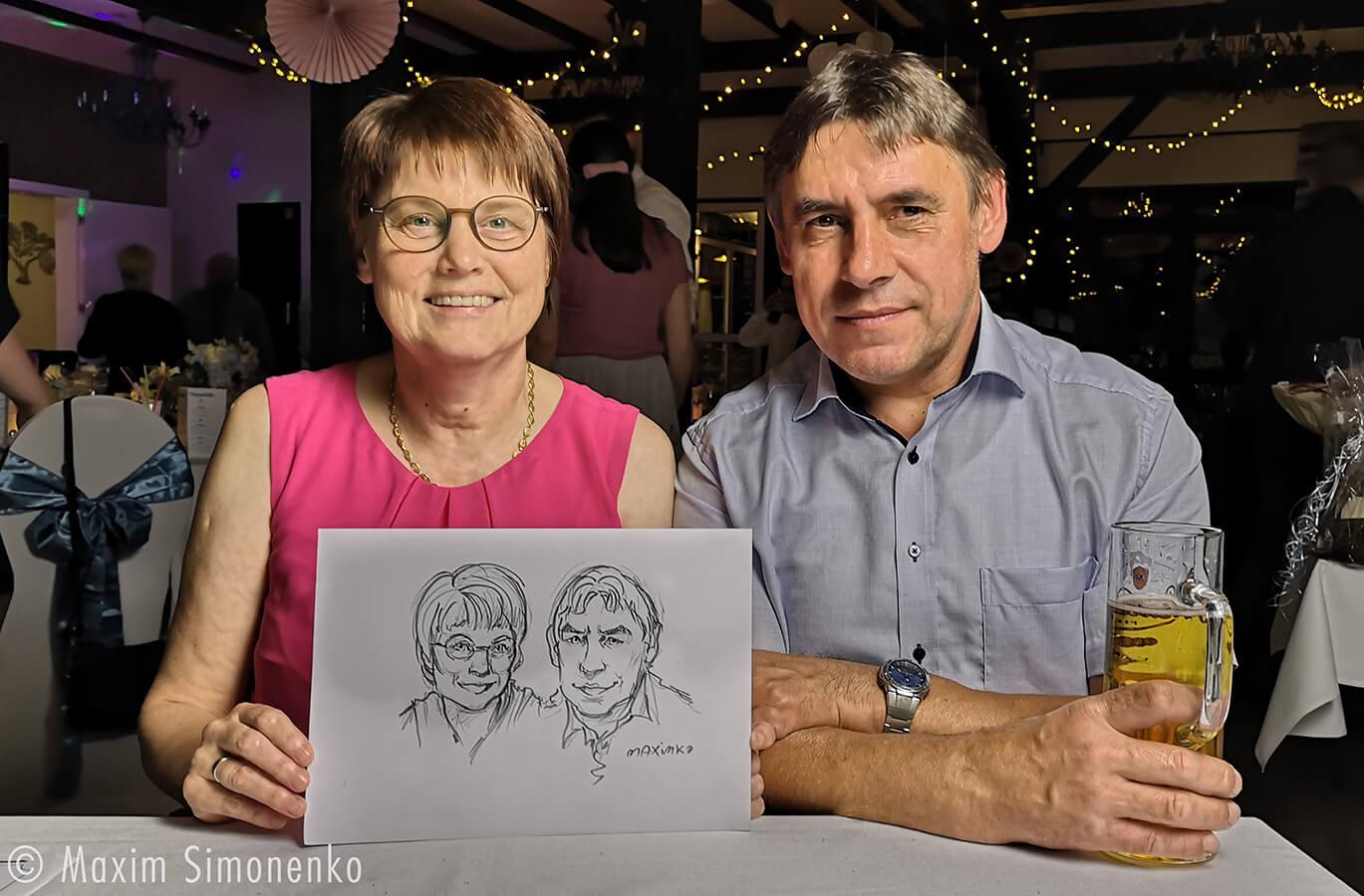 portrait karikatur am drewitzer see hochzeit eventzeichner maxim simonenko maximko